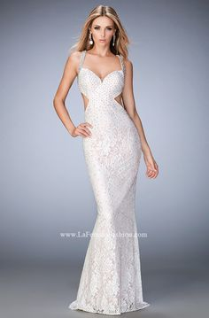 You are sure to feel glamorous and beautiful in La Femme Style #22740 available at Whatchamacallit Boutique