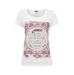 Street One T-Shirt mit Ausbrenner-Effekt und Federn-Print