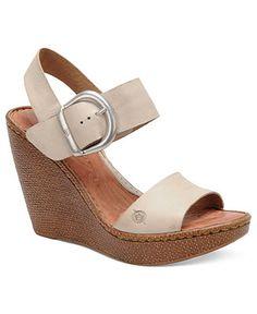 Cream wedge sandals - Born Women's Shoes, Verity Platform Wedge Sandals -  Espadrilles & Wedges