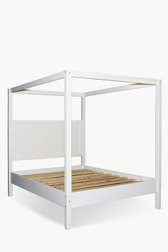 Brighten up your bedroom space with this stylish wooden 4 poster bed. Crafted from a combination of solid pine and engineered wood. Solid Pine wood MDF As Large Furniture, New Furniture, Bedroom Furniture, Mr Price Home, 4 Poster Beds, Headboards For Beds, Queen Beds, New Room, Engineered Wood