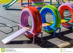 Recycled Playground Made from Old Tires - another great local partnership opportunity with the tire manufacturer.