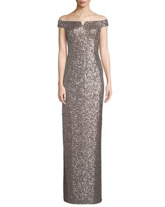 72586d09cdf Off-the-Shoulder Two-Tone Sequin Gown by Aidan by Aidan Mattox at Neiman  Marcus