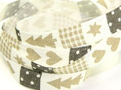Beige, Grey & Cream Christmas Print Rustic Ribbon 15mm wide - 20 metre roll Preview