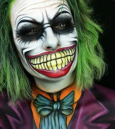 """Too sick to create something... So here's a throwback to one of my favorite Looks so far.. My 3in1 Joker Creation! """"This city deserves a better class of criminal. And I'm gonna give it to them!"""" #8daystillmybirthday #tb #joker #thejoker #batman #makeup #makeupartist #makeupaddict #creativemakeup #mua #faceartist #faceart #makeupskills #latergram #anastasiabeverlyhills #hudabeauty #fiercesociety #urbandecay #morphegirl #mouth #comic #dccomics #comicstyle #comicmakeup #bodypaint..."""