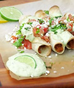 Oven-baked flautas with cilantro-lime avocado sauce. #healthy #Mexican #food