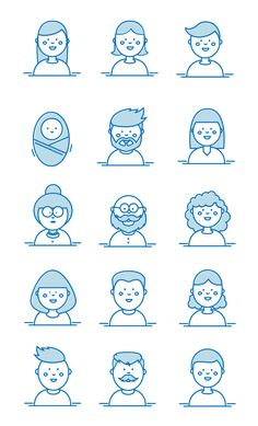 People's Faces Vector Illustration - AI, EPS Face Design, Vector Graphics, Faces, Templates, Illustration, People, Models, Illustrations, Face