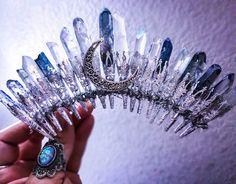Crystal tiara crystal quartz crown crystal by PorcelainMoonstar Bridal Crown, Bridal Tiara, Wedding Veils, Bridal Headpieces, Wedding Hair, Wedding Jewelry, Shell Crowns, Mermaid Crown, Crystal Crown
