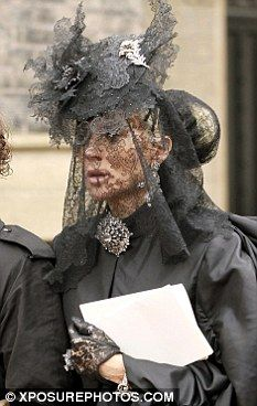 Daphne Guinness at the funeral of fashion designer Alexander McQueen on February 25th 2010.