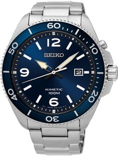 Seiko Kinetic Blue Dial Blue Leather Mens Watch *** To view further for this item, visit the image link. Stainless Steel Polish, Stainless Steel Bracelet, Cheap Watches For Men, Authentic Watches, Seiko Men, Best Watch Brands, Online Watch Store, Mens Watches Leather, Black Bracelets