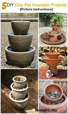 5 #DIY Terra Cotta Clay #Pot #Fountain Projects [Picture Instructions] -->> http://www.diyhowto.org/diy-terra-cotta-clay-pot-fountain-projects/