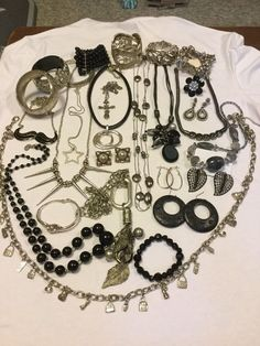 Silvertone Black Chrome Vintage To Now Costume jewelry Lott