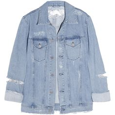 Acne Fever Trash distressed denim jacket ($420) ❤ liked on Polyvore featuring outerwear, jackets, tops, coats, distressed jacket, acne studios, blue jackets and distressed denim jacket