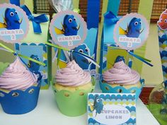 SD Eventos: BUSCANDO A DORY! Finding Dory birthday party Finding Dory sweet table Candy Bar Buscando a Dory Cupcakes Dory Toppers