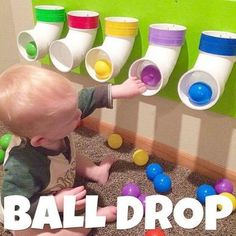 Ball Drop using pvc pipe. I put different colored tape around the top of each to match the colors of the ball pit balls we have, so that we can eventually use this to work on identifying colors too!No long tube for this to get stuck in! Infant Activities, Preschool Activities, Preschool Playground, Toddler Activities For Daycare, Baby Room Activities, 10 Month Old Baby Activities, Preschool Garden, Playground Ideas, Diy For Kids