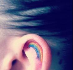 Beautiful Rainbow Tattoo Design: Cute Rainbow Tattoo Design For Girl On Ear ~ Tattoo Design Inspiration