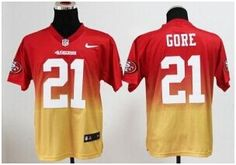 "$28.88 at ""MaryJersey"" (maryjerseyelway@gmail.com) Nike 49ers #21 Frank Gore Red and Gold Stitched NFL Elite Fadeaway Fashion Jersey. Available for youth, women and men"