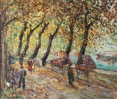 Michele Cascella - ALONG THE SEINE, 1953, Oil on...