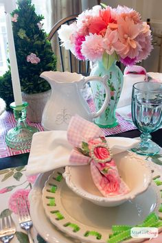 Spring Table Setting Ideas: Pink and Green Luncheon. This would be gorgeous for a wedding, bridal shower, baby shower or bridesmaids' lunch.