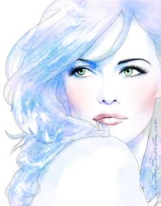 Pretty in Pastels- Watercolor Ink Fashion Illustration Print Poster.  Esther Bayer. - #fashion #sketch #illustration #drawing #woman