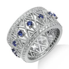 Sapphire Diamond Gemstone Ring in White Solid Gold