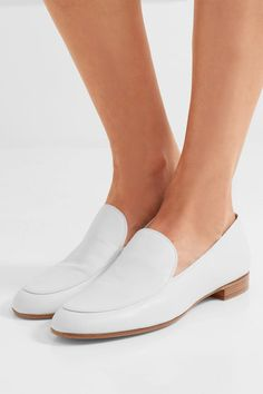 GIANVITO ROSSI Heel measures approximately 10mm/ 0.5 inches White leather Slip on Made in Italy