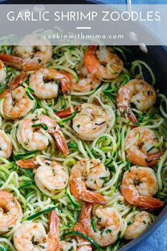 garlic shrimp recipes This Garlic Shrimp Zoodles is a delicious and healthy alternative to pasta! The shrimp is sauted with garlic and tossed with Zucchini zoodles. This Garlic Sh Healthy Dishes, Easy Healthy Dinners, Healthy Dinner Recipes, Low Carb Recipes, Healthy Eats, Lunch Recipes, Zoodle Recipes, Seafood Recipes, Pasta Recipes