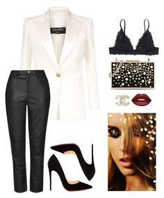 """""""premiere night"""" by stylebyaren ❤ liked on Polyvore featuring Balmain, Monki, Topshop, Karl Lagerfeld, Christian Louboutin, Chanel and Lime Crime"""
