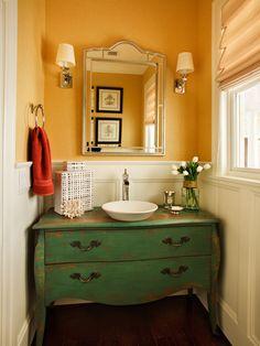 painted dresser turned vanity + vessel sink + venetian-style mirror