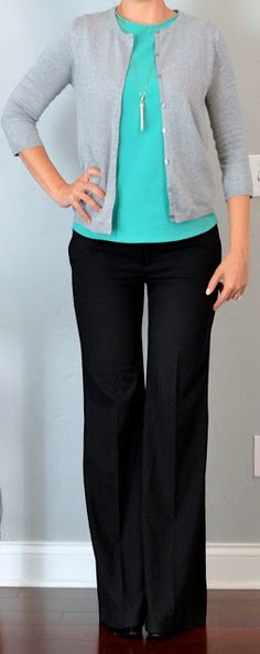 Outfit Posts: outfit post: teal shell, grey cardigan, black wide legged trousers