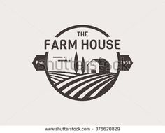 Farm House concept logo. Template with farm landscape. Label for natural farm products. Black logotype isolated on white background. Vector illustration.  - stock vector