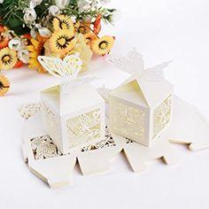 Musuntas 50Tlg.Vogelkäfig-Entwurf Hochzeit Taufe Gastgeschenk Geschenkbox Kartonage Schachtel Tischdeko Bonboniere Box Hochzeit Dekoration( ivory weiß): http://amzn.to/2t5OB4T