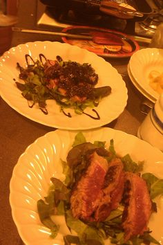 Tuscan beef tagliata with a reduced prune sauce glaze during a Tuscan cooking class