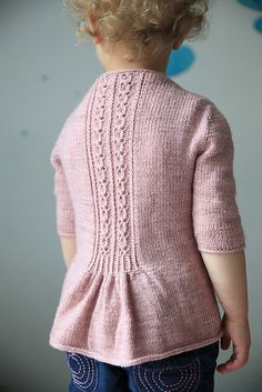 Knitted cardigan for kids - Ravelry: Fleur Bleue pattern by Christelle Nihoul. Love the detail on the back! Baby Knitting Patterns, Knitting For Kids, Baby Patterns, Hand Knitting, Knit Or Crochet, Crochet For Kids, Crochet Baby, Ravelry, How To Purl Knit