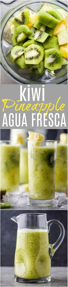 Refreshing Kiwi Pineapple Agua Fresca made with only 3 ingredients and refined sugar free. This Agua Fresca is the perfect drink for those warmer summer months!
