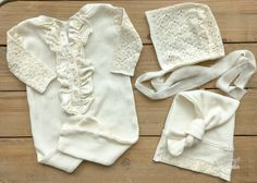 Newborn Girl Prop Outfit - Ivory Ruffled Long John Romper - Footless - RTS by wrenandwillowdesigns on Etsy