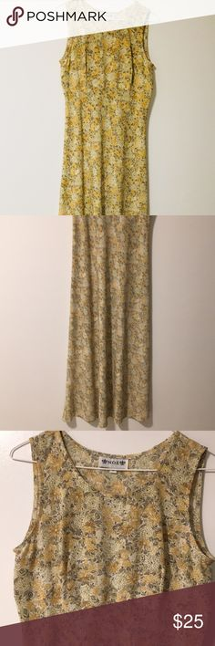 Sleeveless floor length fitted dress Sleeveless floor length dress Material looks silk like Dull yellow floral print  Fitted Adorable on Dresses Maxi