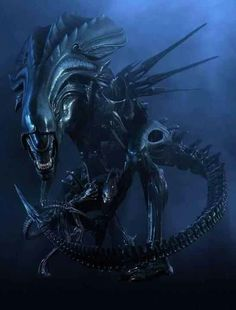 My all time favorite sci-fi movie monster: The queen xenomorph from Aliens! Notice the xenomorph warrior at her feet, pretty awesome Alien Vs Predator, Les Aliens, Aliens Movie, Aliens 1986, Cyberpunk, Xenomorph, Hr Giger Alien, Alien Queen, Alien Art