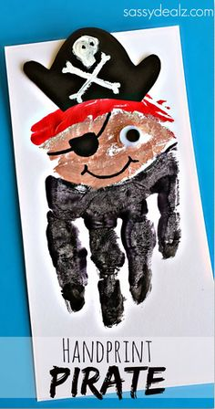 Handprint Pirate Craft for Kids (Card Idea) #Pirate art project | CraftyMorning.com