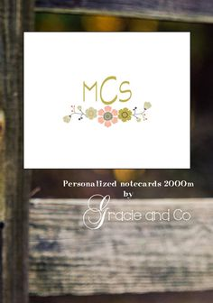 Initial note cards personalized custom notecards by gracieandco, $17.50