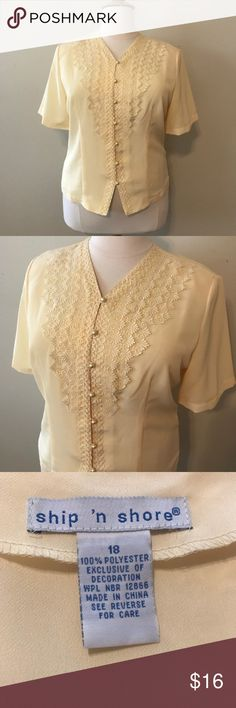 EUC Ship N Shore yellow lacy blouse size 18 This blouse is in excellent condition as it was only worn once. It's a lovely butter yellow blouse made of 100% soft polyester. The top has gorgeous lace and bead detail with buttons made of faux pearls down the front. The back of the blouse is plain. It does have thin shoulder pads for added structure. Ship N Shore Tops Button Down Shirts