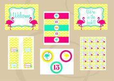 Neon Flamingo Pool Birthday Party Printable by EmmyJosParties, $25.00