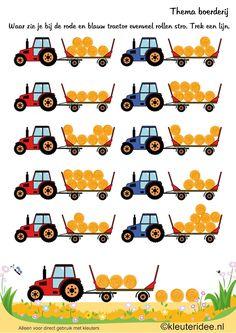 Zoek evenveel rollen stro, thema boerderij, kleuteridee , Looking as many rolls of straw, Preschool farm theme, free printable.