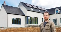 With this passive house in Co Kildare, father-and-son building team Pat and Paul Doran prove that meeting the strict low energy standard can be done f. Passive House Design, Farmhouse Renovation, New Builds, Home Builders, Building A House, Architecture, Environment, Father, Pai