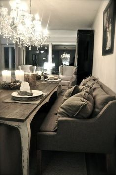 Don't be afraid to incorporate grand lighting design in your small space. Sofa Does Double Duty - Perfect Set-up For a Small Condo/Apartment Awesome & Very Nice Looking. Couch Dining Table, Dining Room Furniture, Sofa Bench, Table Bench, Bench Seat, Room Chairs, Dining Room Inspiration, Home Decor Inspiration, Decoration Gris