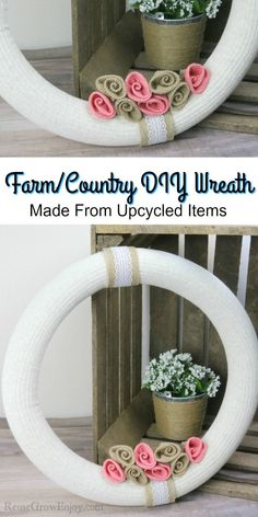 This DIY wreath turns out so cute and it is easy to do using upcycled items! Great way to add a little touch of country to the house or door! Fall Crafts, Diy And Crafts, Burlap Roses, Money Saving Meals, Amazing Crafts, Country Farm, Fall Diy, How To Make Wreaths, Diy Wreath