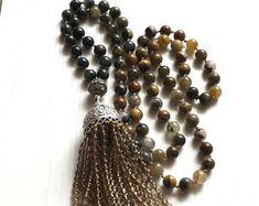 #forher#necklace#handmade#Boho#ethnic#jewlery#gifts#mala#style  Boho necklace, Hand knot necklace, Unique necklace, OOAK necklace, Long beaded Necklace, Gift necklace, tassel necklace, green necklace