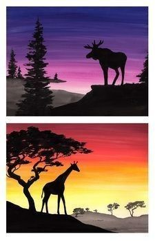Learn how to draw a silhouetted scene of animals in their natural habitats. Templates are provided for tracing a giraffe & elephant in the savannah and a wolf and moose in the forest. Lessons are step Sillouette Painting, Silouette Art, Giraffe Painting, Animal Art Projects, Cool Art Projects, Animal Paintings, Animal Drawings, Animals Tattoo, Draw Animals