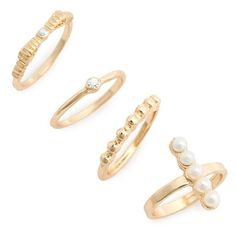 Junior BP. Midi Rings ($14) ❤ liked on Polyvore featuring jewelry, rings, accessories, stackable midi rings, stackable band rings, gold tone rings, top finger rings and sparkle jewelry