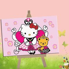 Eonelife Diy Oil Painting Paint By Number Kits For Children Hello Kitty And Bear Princess Diy Digital Oil Painting With Wooden Frame >>> Check out the image by visiting the link.Note:It is affiliate link to Amazon.