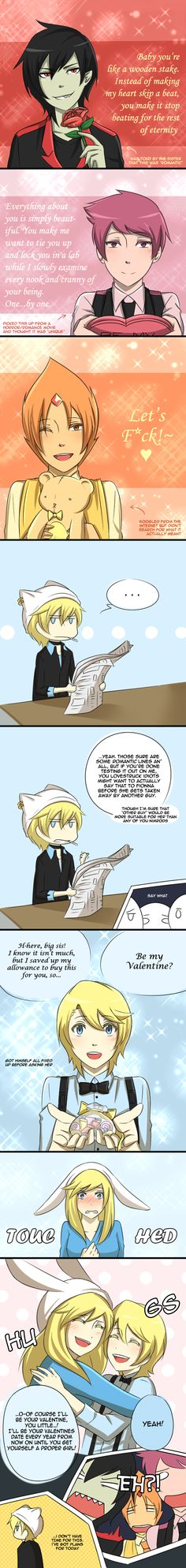 Awww how sweet except for what flame prince said...0////0. Really cute... ~Fionna The Human